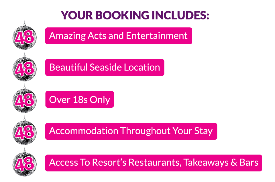 Access to resorts Restaurants, Takeaways & Bars. Not forgetting Performances from 80's legends, Amazing Tribute Acts, Lots of daytime activities, Over 18's event & A Beautiful Seaside location.